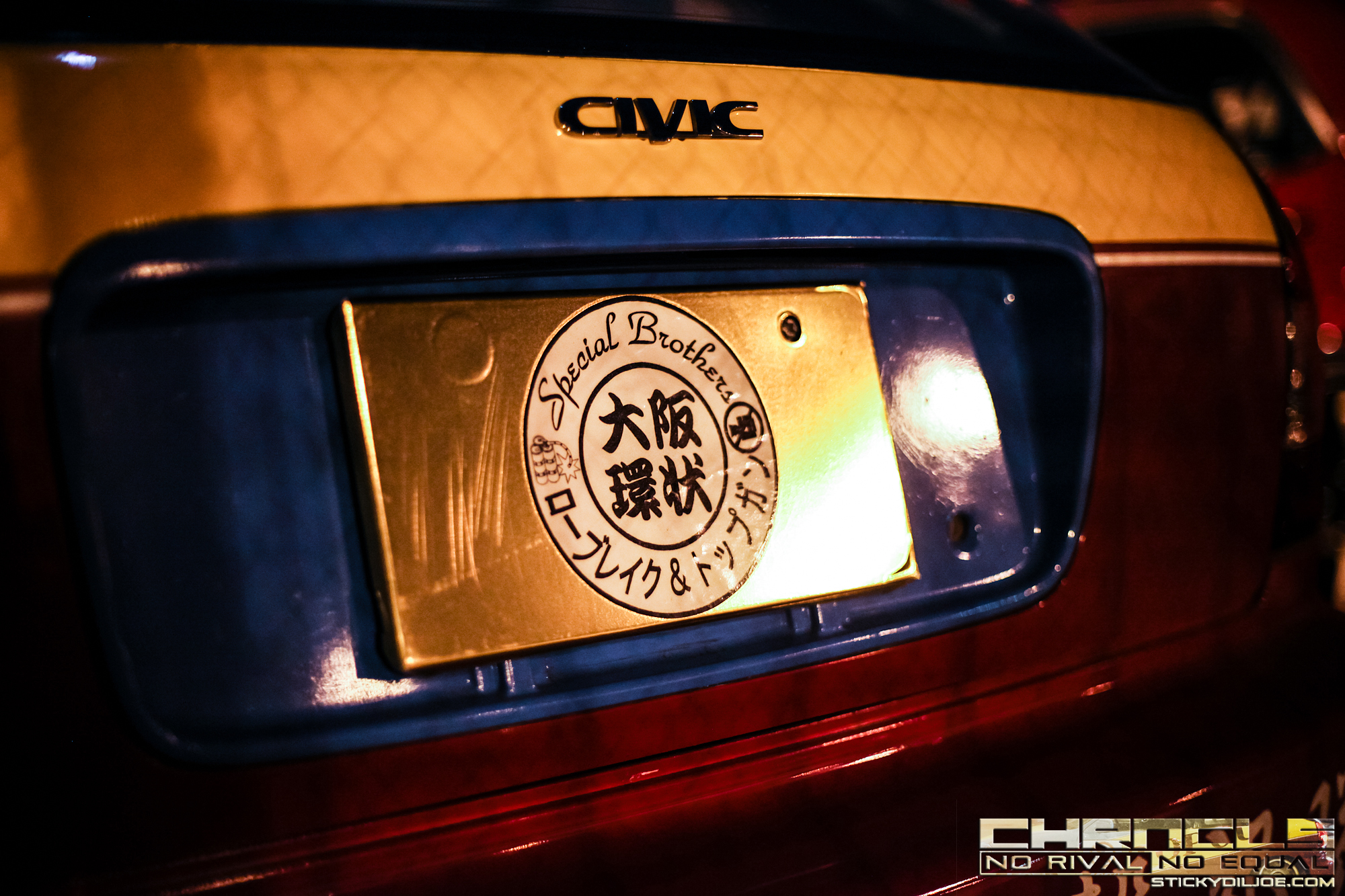 """Some car clubs even have a decal together that shows their union. This is a """"SPECIAL BROTHERS"""" decal that signifies the collaborative effort between LAW BREAK and TOP GUN Racing."""