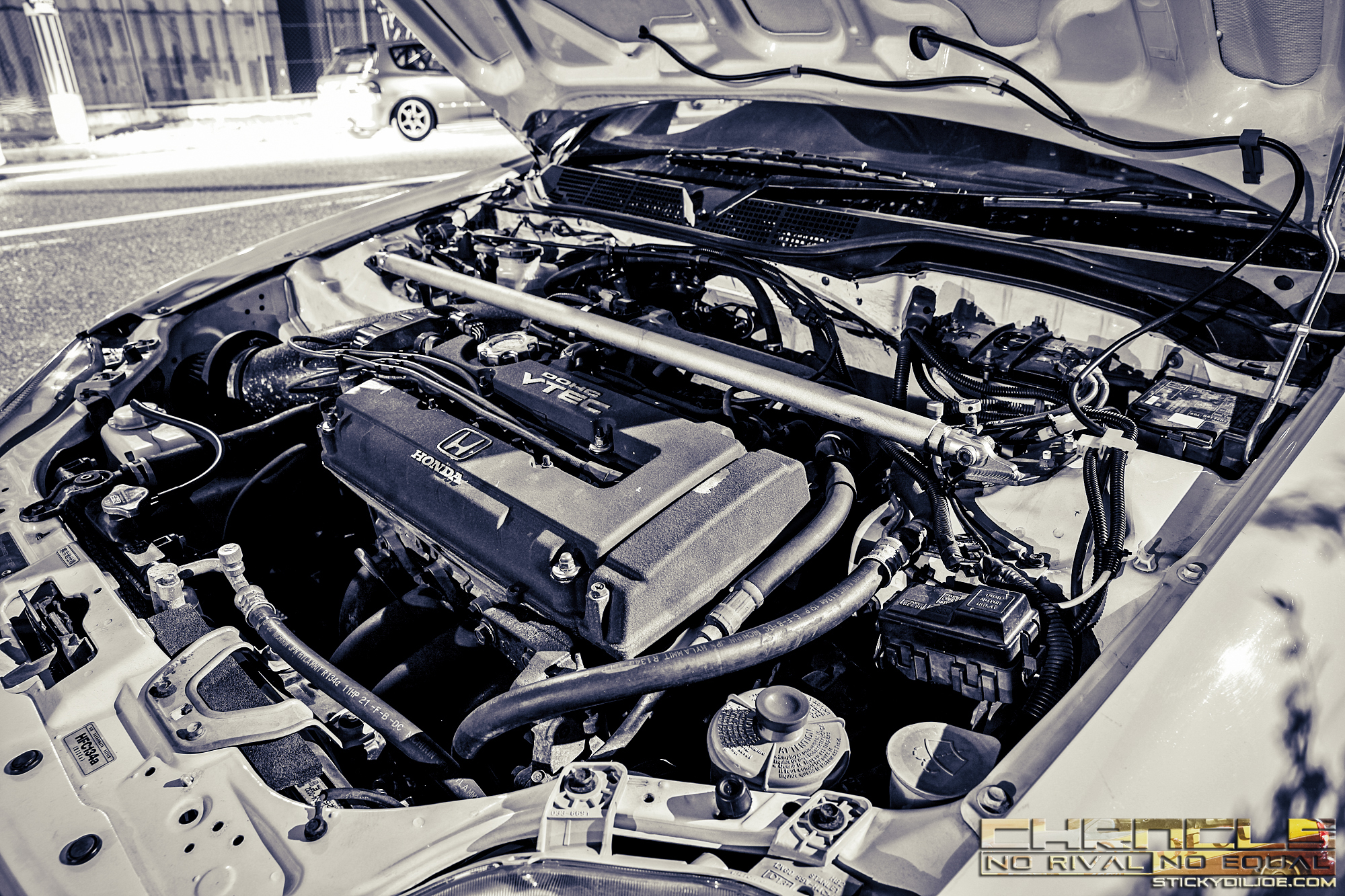 A factory B16B Type R engine that remains untouched inside of an EK9 CTR from LAW BREAK